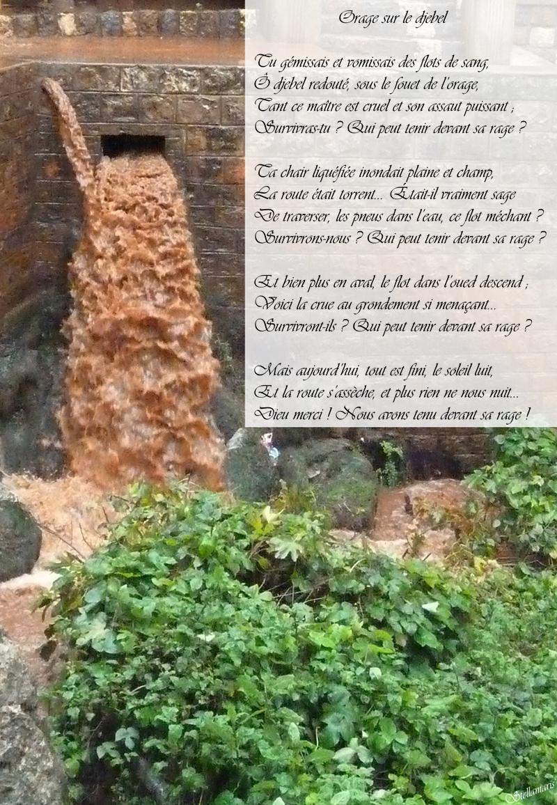 Orage sur le djebel / / Tu gémissais et vomissais des flots de sang, / Ô djebel redouté, sous le fouet de l'orage, / Tant ce maître est cruel et son assaut puissant ; / Survivras-tu ? Qui peut tenir devant sa rage ? / / Ta chair liquéfiée inondait plaine et champ, / La route était torrent... Était-il vraiment sage / De traverser, les pneus dans l'eau, ce flot méchant ? / Survivrons-nous ? Qui peut tenir devant sa rage ? / / Et bien plus en aval, le flot dans l'oued descend ; / Voici la crue au grondement si menaçant... / Survivront-ils ? Qui peut tenir devant sa rage ? / / Mais aujourd'hui, tout est fini, le soleil luit, / Et la route s'assèche, et plus rien ne nous nuit... / Dieu merci ! Nous avons tenu devant sa rage ! / / Stellamaris